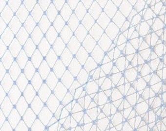 Light Blue Veil Netting - Russian or French Net Birdcage Material, Half or Full 1 Yard