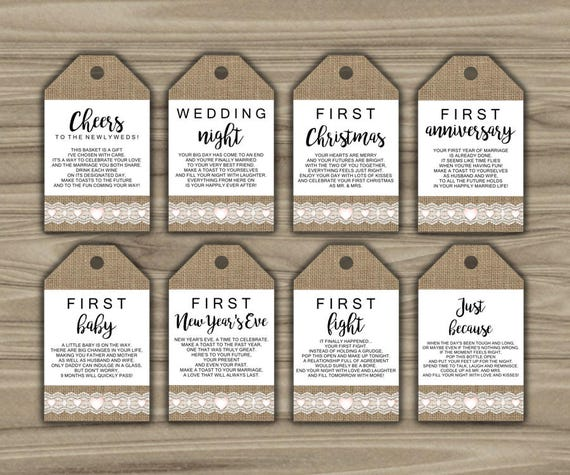 Wine Firsts Wedding Gift: Burlap And Lace Milestone Wine Tags Bridal Shower Gift