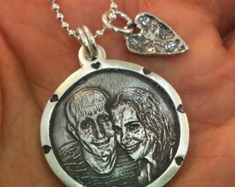 Circle With Hearts - Photo Pendant