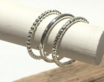 Trio Of Sterling Silver Stacking Rings
