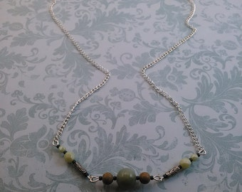 Earthen Necklace: Fancy Jasper, Imperial Jasper, Tibetan Silver and Turquoise Stardust Finished Czech Glass Focal Beads and Chain Necklace