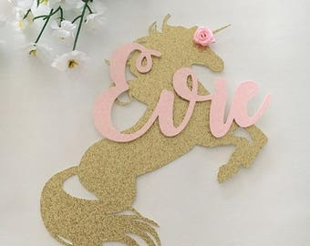 Personalised Unicorn and Name Cake Topper
