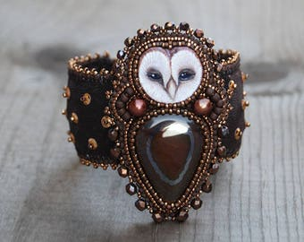 Bead Embroidered Bracelet Cuff with Natural Tiger Eye Cabochon and Polymer Clay Barn Owl Face Cabochon