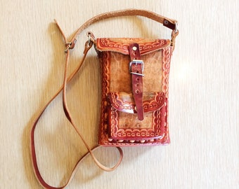 Vintage Mexican tooled leather purse/70s tooled leather