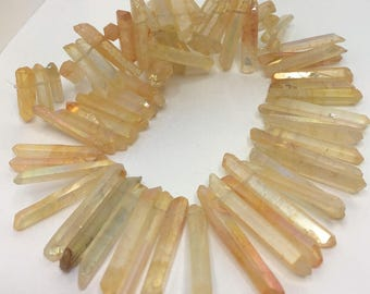 Light Yellow Quartz Points Slender Crystal Point Beads Top Drilled Raw Quartz Crystal Sticks Long Yellow Natural Raw Stones LynnsGemSupplies