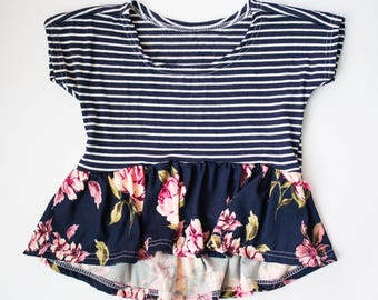 floral mommy and me tops hi low skirt top fall fashion baby trendy girl tops skirted peplum womens floral tunic wholesale baby peplum tops