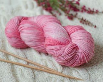 Hand Dyed Superwash Merino Wool  4 ply smokey purple yarn sock wool Colorway: pink 100g (3.5 oz)