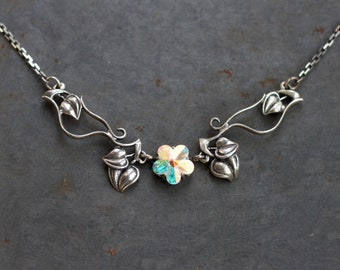 Dainty Art Nouveau Necklace - Sterling Silver Leaves and Iris Glass Flower - Short Elegant Necklace - Vintage Oxidized jewelry