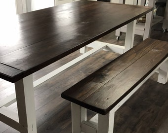 Farmhouse Bench - Wooden Bench - Rustic Bench - Farmhouse Bench - Rustic Dining Bench - Farmhouse Dining Bench - Wood Bench