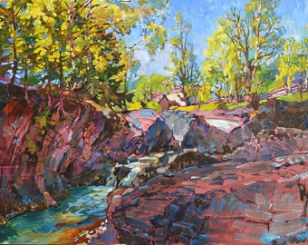 Impressionist landscape, river painting, mountain canyon painting, modern painting, mountain painting, botanical painting, mountain wall art