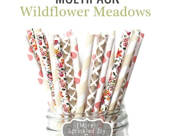 WILDFLOWER Floral Paper Straws, Flower, Wildflower Meadows, Multipack, Flowers, Cream, Stripe, Damask, FlowerVintage, 25 Straws, 5 Designs