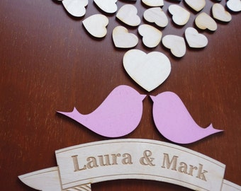 Unique Wedding Guest Book Alternative Wedding Guestbook Love Birds Wood Wedding Guest Book Sign w/ Personalized Name& Date Wedding Keepsake
