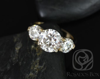 Rosados Box Carla 9&6mm 14kt Yellow Gold Round F1- Moissanite and Diamond 3 Stone Engagement Ring