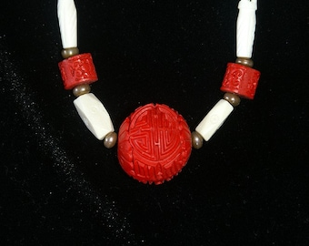 Red and White Coral and Bone Necklace