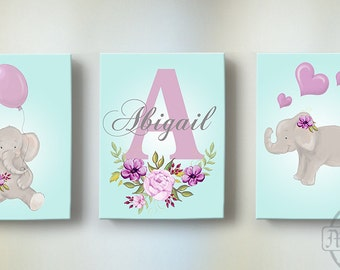 Elephant Nursery Wall Art - Purple Aqua and Gray Nursery Decor - Canvas Art - Baby Boy Room Decor - Whimsical Elephant Wall Art