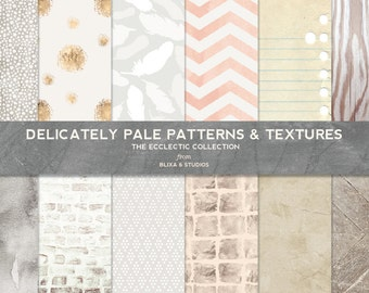 Delicately Pale Digital Patterns and Textures for Scrapbooks and Graphic Design