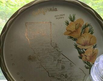 California Poppy Seed Souvenir Plate Gold Tin