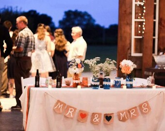 Head Table Country Wedding Banner -Rustic Mr and Mrs Banner - Rustic Burlap Banner Country Wedding Rustic Wedding