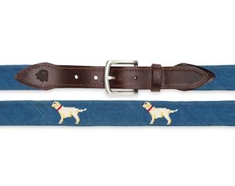 Yellow Lab Needlepoint Belt / Custom Dog Needlepoint Belt / Gifts for Dog Lovers / Custom Dog Belts / Custom Needlepoint / Dog Gifts