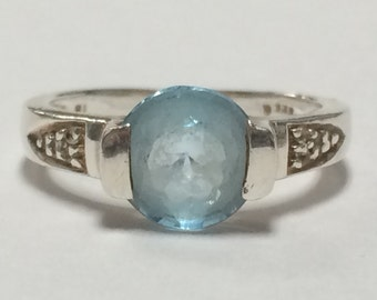 STUNNING Sterling Silver 925 Aquamarine Band Ring Size 6.25