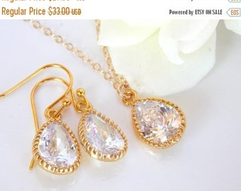 Wedding Jewelry Set, Gold Filled Set, Cubic Zirconia, Bridal Jewelry, Earrings and Necklace, Wedding Gifts Set, Bridesmaid Gifts, Dangle,SET