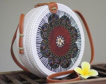 Round Rattan White Bag Painted Walnut
