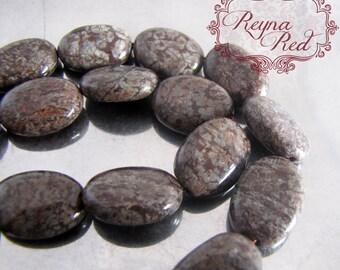 Mahogany Obsidian Flat Oval Beads, 13x18mm, 22 pcs - FULL strand darl brown gemstone beads - reynaredsupplies