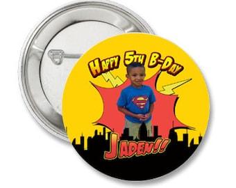 Super Hero Custom Birthday Photo Pinback Button-3.5 inches-