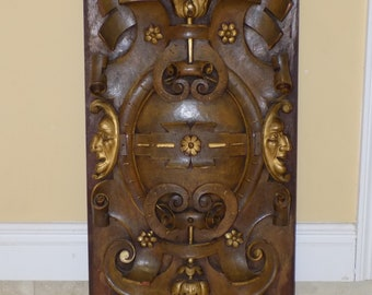19th Century French Mahogany Wood Panels, Carved Wood Panel with Celestial Moon