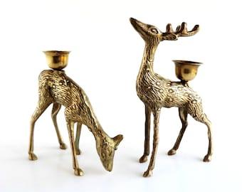 Vintage Brass Deer Candleholder Figurine Set | Stag and Doe | Home and Office Decor