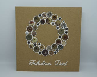Fabulous Dad, Thanks Dad Card, Card for Dad, Handmade Dad Card, Fathers Day Card, Father's Day Card, Button Card, Buttons for Dad, Birthday
