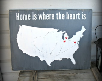 USA Map - Home is Where the Heart Is - Personalized Custom United States Map USA Travel Map Valentine Wedding Anniversary Birthday Gift