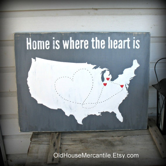 Usa map home is where the heart is personalized custom gumiabroncs Gallery
