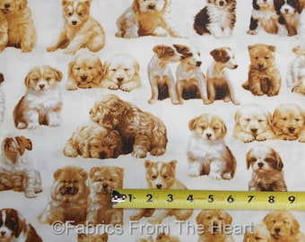 Whiskers & Tails Puppy Dogs Many Breeds on Ivory BY YARDS Robert Kaufman Fabric