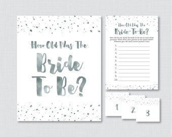 How Old Was the Bride To Be Game - Printable White and Silver Bridal Shower Game - Guess the Bride's Age, How Old Was She - Gray 0010-S