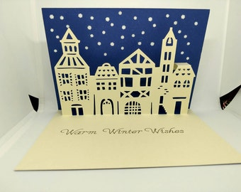 Sending you warm winter wishes pop up card