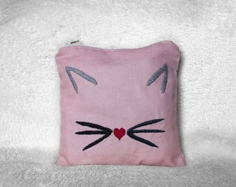 Cat Face Embroidered Pouch ~ Kitty Embroidered Woman Zipped Pouch ~ Small Women Makeup Bag ~ Gift For Her