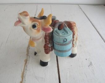 Vintage Cow Salt Pepper Set Porcelain Japan