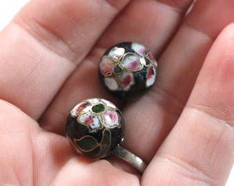 Vintage cloisonne beads 14mm