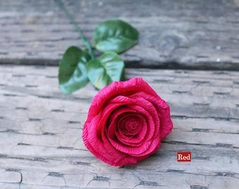 Single Stem Paper Rose, Crepe Paper Flower, Handmade Flower, Handcrafted Roses, Paper Flowers, Handmade Paper Roses, Wedding decor