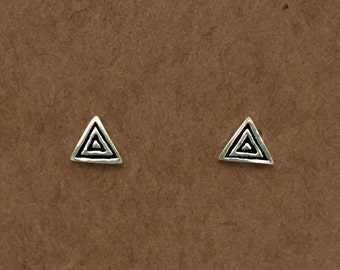 Sterling Silver Triangle Stud Earrings Silver Stud Earrings Geometric Silver Earrings Studs Gifts Minimalist Bridesmaid Gift