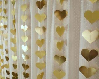 Gold Foil Heart Garland, 10' Paper Heart Garland, Wedding Reception Decor, Bridal Shower Decoration, Valentines Day, Photo Backdrop