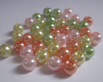 40 Pearl glass beads mix color 6mm (E-34)