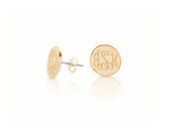 Hypoallergenic 14k Gold fill monogram stud earrings • Monogrammed initials Personalized engraved gifts for her • surgical steel posts