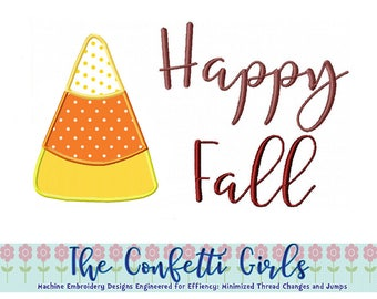 Happy Fall Candy Corn Applique Machine Embroidery Digital Download