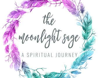 Feather Watercolor Logo - Blog Header - Pre-made Logo Design - Spiritual Logo - Colorful Logo