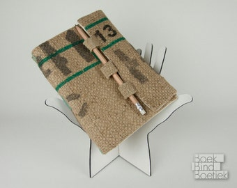 Upcycled Burlap Notebooks Pencil Closure 2