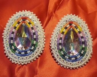 native american white luster earrings