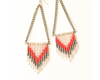 Chevron seed bead earrings - dusty rose, gray and clear