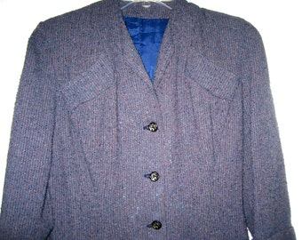 SALE 40.00 Vintage boucle coat dress lined in blue lily of the valley buttons